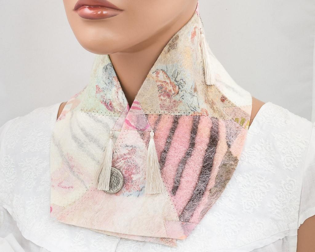 col scarf laine feutrée patchwork pastel-1