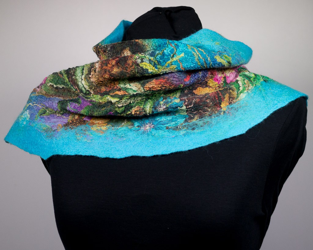 echarpe nuno soie laine feutrée turquoise