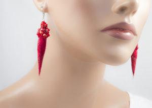 Boucles d'oreilles Pic feutre broderie perles rocailles