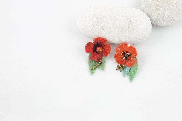Boucles doreilles cllip fleur orange perles rocailles