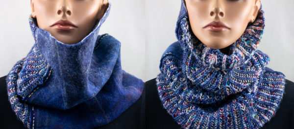 Col snood tricot feutre bleu