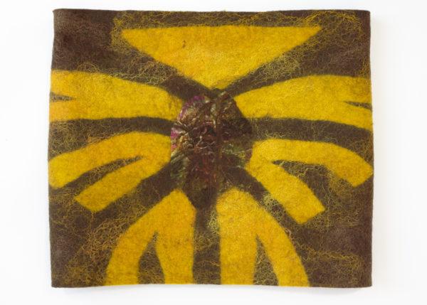 Col réversible tricot brioche laine feutrée jaunemarron