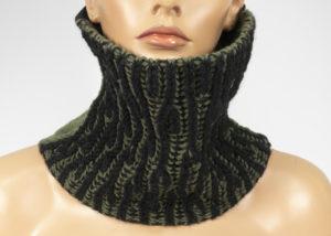 Col tricot réversible laine feutrée kaki-noir