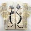 Mitaines tricot laine feutrée avec broderie beige