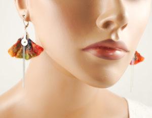 boucles oreilles pétale feutre soie