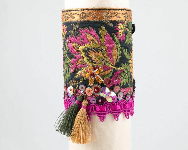 bracelet manchette ruban jacquard fuchsia or kaki