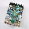 bracelet manchette ruban s jacquard gris-noir broderie turquoise