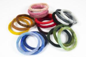 bracelets 3 bangles camaieu de couleurs-laine feutrée