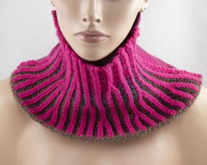 col snood tricot brioche laine feutrée Rose Fuchsia