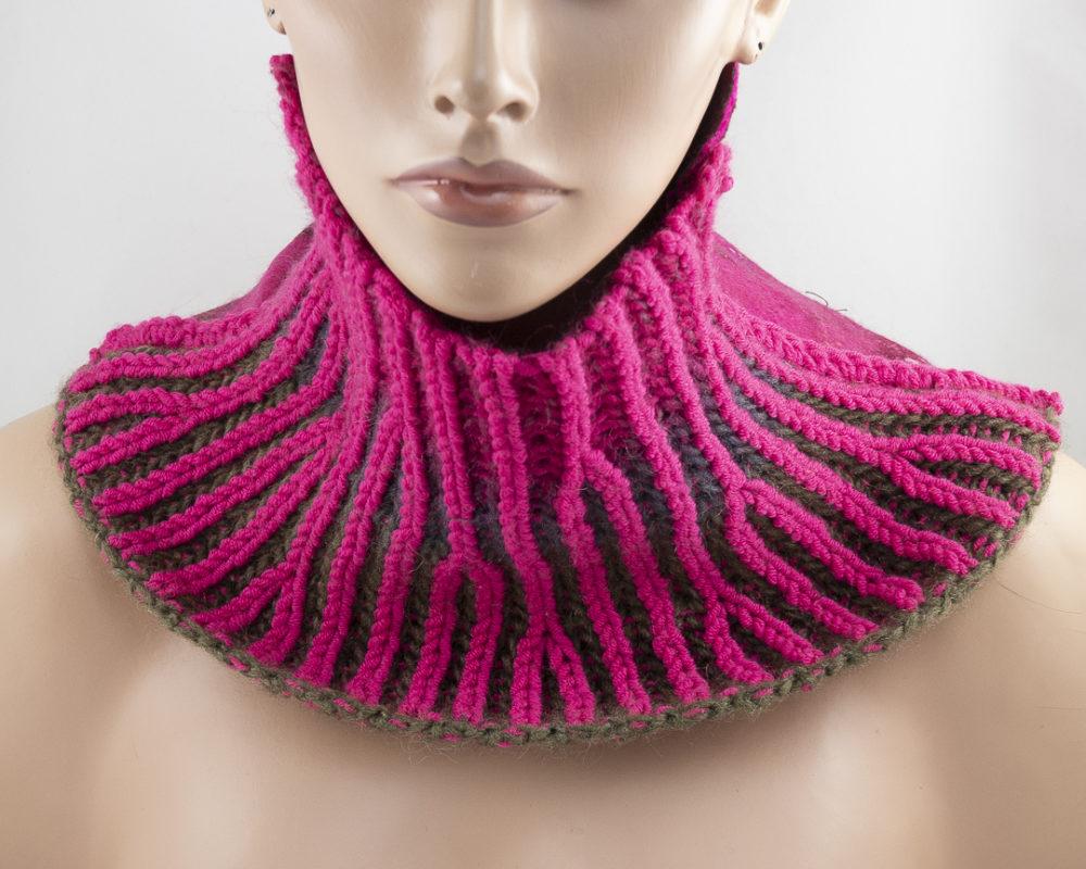col feutre tricot brioche rose fuchsia
