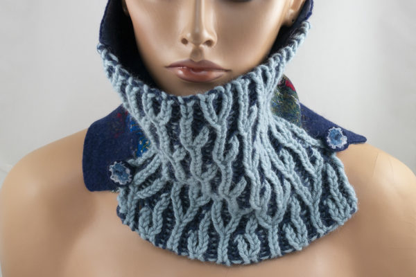 col snood tricot brioche feutre bleu