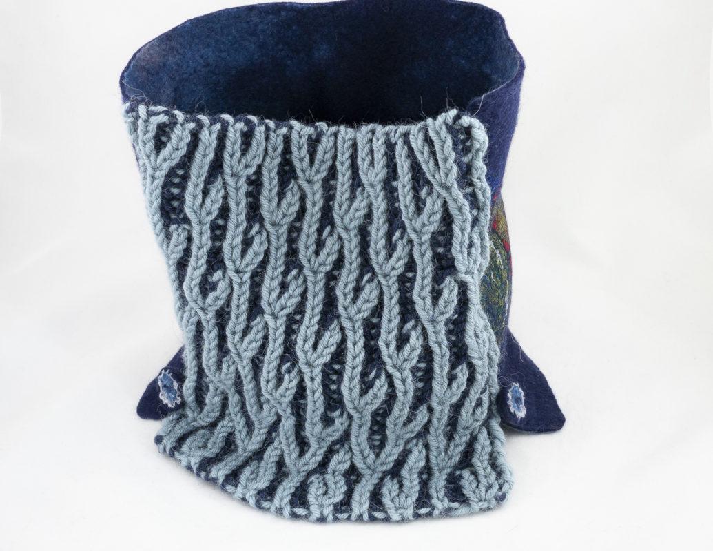 col snood tricot brioche laine feutrée bleu-marine
