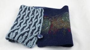 col tricot brioche laine feutree-Bleu bleu marine