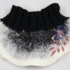 col tricot laine feutrée brodée de fleurs
