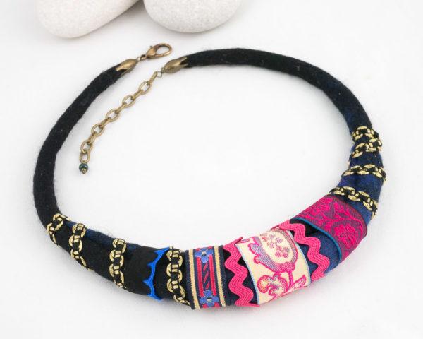 collier textile Tour de cou ruban fuchsia noir or