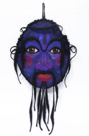 Déco murale masque en laine feutrée à suspendre violet Dansmoncorbillon