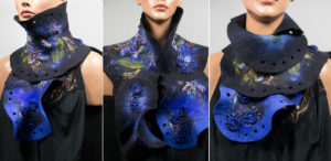 echarpe Haute couture feutre soie bleu, broderie perles sequins