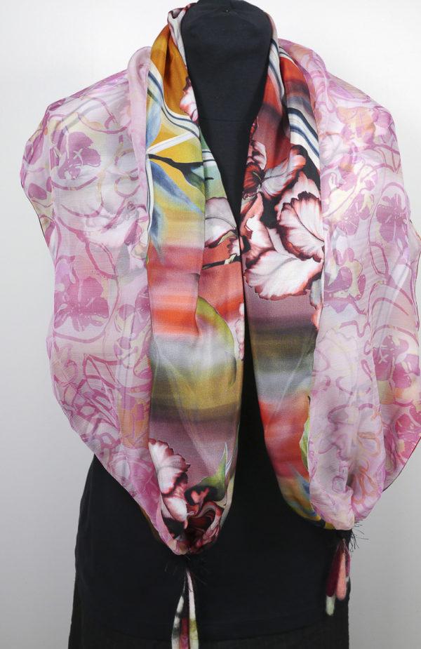 Echarpe soie imprimée doublée rose pendants feutre