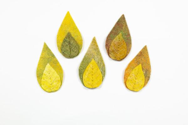 lot de 5 feuilles en laine feutrée brodées