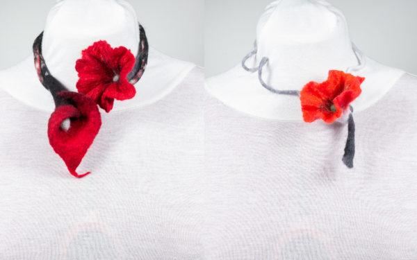 Collier sautoir fleurs laine feutrée Coquelicot Arum rouge